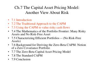 Ch.7 The Capital Asset Pricing Model: Another View About Risk