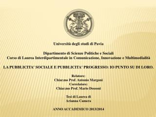 Universit à  degli studi di Pavia