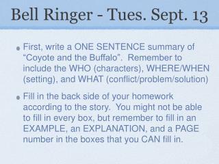 Bell Ringer - Tues. Sept. 13