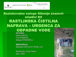 AVTORJI: Helena BEVK Tina ČARMAN Mateja ŠTREMFELJ MENTORICA: Marjetka KASTELIC ŠVAB, prof.