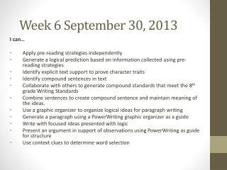 Week  6 September  30, 2013