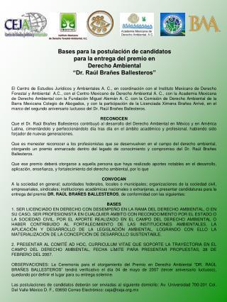 Bases para la postulación de candidatos para la entrega del premio en  Derecho Ambiental