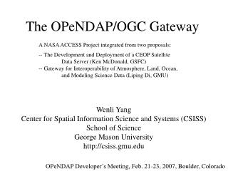 The  OPeNDAP/OGC Gateway
