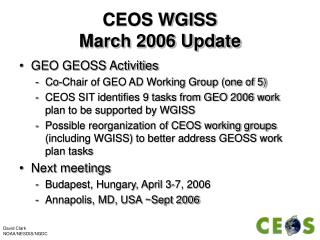 CEOS WGISS March 2006 Update