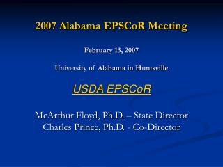 2007 Alabama EPSCoR Meeting February 13, 2007 University of Alabama in Huntsville