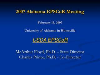 2007 Alabama EPSCoR Meeting February 13, 2007 University of Alabama in Huntsville