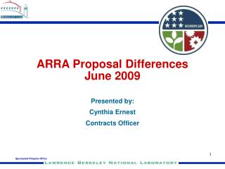 ARRA Proposal Differences  June 2009