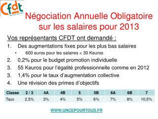 Négociation Annuelle Obligatoire sur les salaires pour 2013