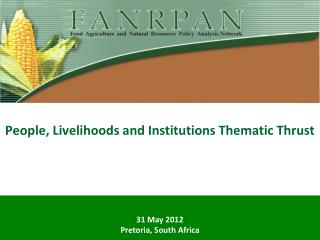 People, Livelihoods and Institutions Thematic Thrust