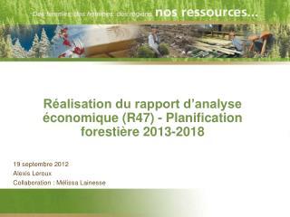 Réalisation du rapport d'analyse économique (R47) - Planification forestière2013-2018
