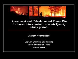 Assessment and Calculations of Plume Rise for Forest Fires during Texas Air Quality Study period.