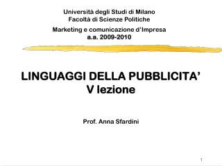 LINGUAGGI DELLA PUBBLICITA' V lezione