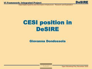 CESI position in DeSIRE Giovanna Dondossola