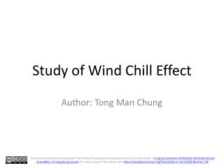 Study of Wind Chill Effect