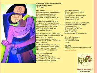 Prière pour la Journée européenne contre la trafic humain 18 Octobre Dieu éternel