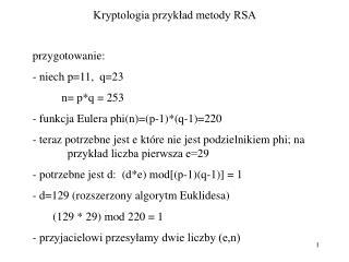 Kryptologia przykład metody RSA