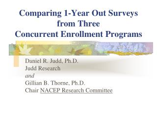 Comparing 1-Year Out Surveys from Three  Concurrent Enrollment Programs