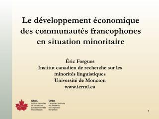 Le développement économique des communautés francophones en situation minoritaire