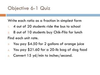 Objective 6-1 Quiz