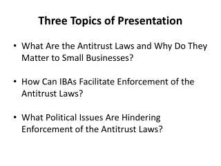 Three Topics of Presentation