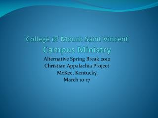 College of Mount Saint Vincent Campus Ministry