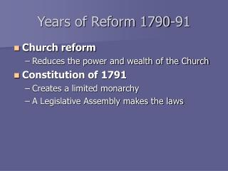 Years of Reform 1790-91