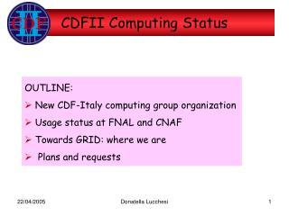 CDFII Computing Status