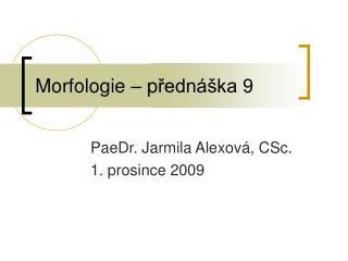 Morfologie – p řednáška  9
