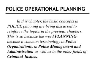 POLICE OPERATIONAL PLANNING