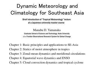 Dynamic Meteorology and Climatology for Southeast Asia