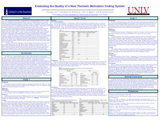 Evaluating the Quality of a New Thematic Motivation Coding System