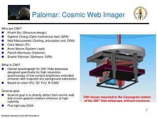 Palomar: Cosmic Web Imager