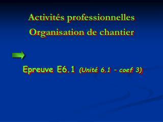 Activit�s professionnelles Organisation de chantier