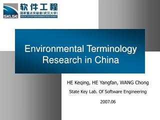 Environmental Terminology Research in China
