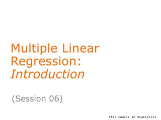 Multiple Linear  Regression:  Introduction