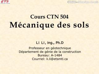 Cours CTN 504  M�canique des sols