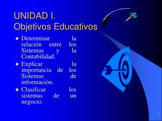 UNIDAD I.  Objetivos Educativos