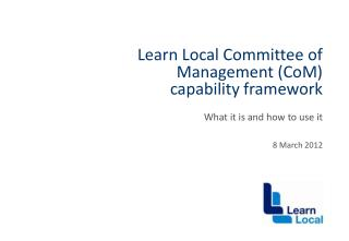 Learn Local Committee of Management (CoM) capability framework