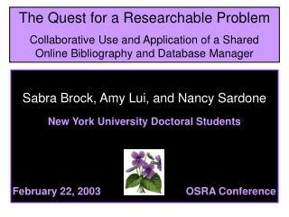 Sabra Brock, Amy Lui, and Nancy Sardone