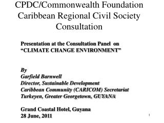 CPDC/Commonwealth Foundation Caribbean Regional Civil Society Consultation