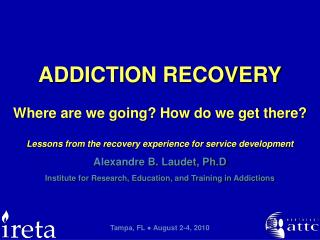 Alexandre B. Laudet, Ph.D Institute for Research, Education, and Training in Addictions