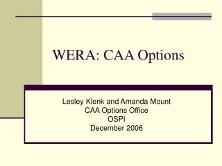 WERA: CAA Options
