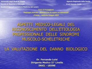 ASPETTI  MEDICO-LEGALI  DEL  RICONOSCIMENTO  DELL ETIOLOGIA  PROFESSIONALE  DELLE  SINDROMI   MUSCOLO-SCHELETRICHE    LA