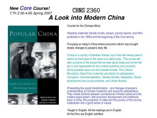 CHNS  2360 A Look into Modern China