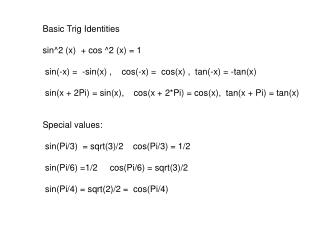 Basic Trig Identities sin^2 (x)  + cos ^2 (x) = 1