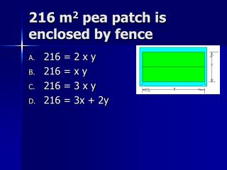 216 m 2  pea patch is enclosed by fence