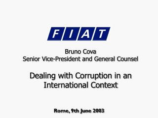 Dealing with Corruption in an International Context