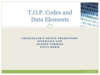 T.O.P. Codes and  Data Elements