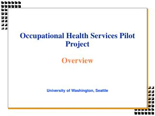 Occupational Health Services Pilot Project Overview