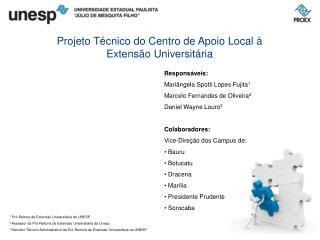 Projeto Técnico do Centro de Apoio Local à Extensão Universitária